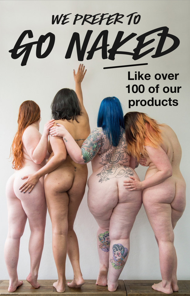 four happy naked women from the back, touching each other