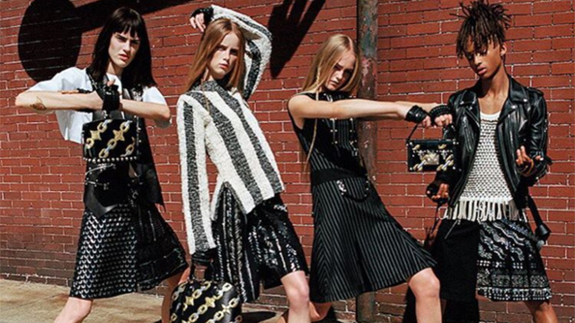 jaden and three female models, all in skirts, with handbags