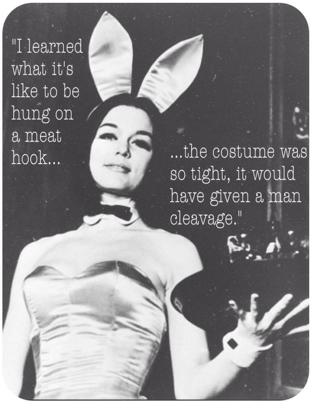 Gloria Steinem as Playboy Bunny with feminist captioning